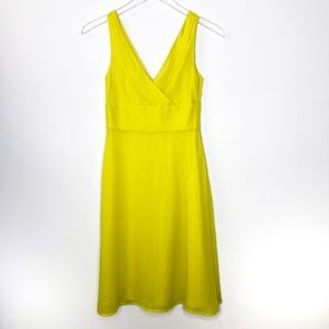 J. Crew Yellow 100% Silk Sophia Dress Sz. 0P